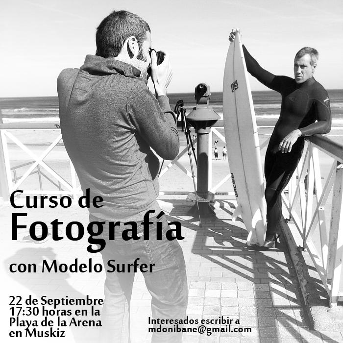 """Curso de Fotografía con """"Modelo Surfer"""" en la playa de la Arena de Musquiz el próximo día 22 de Septiembre"""